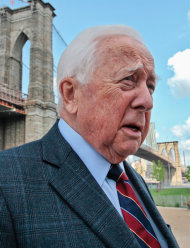 "In this May 10, 2012 photo, author David McCullough, two-time Pulitzer Prize winner for books ""Truman"" and ""John Adams,"" walks around the Brooklyn Bridge while being interviewed in New York. McCullough is celebrating the 40th anniversary of his book ""The Great Bridge,"" which has just been reissued with a new introduction by the 78-year-old writer. (AP Photo/Bebeto Matthews)"
