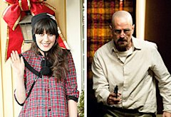 Zooey Deschanel, Bryan Cranston | Photo Credits: Greg Gayne/FOX; Gregory Peters/AMC