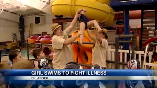 8-year-old cancer patient competes in swim meet