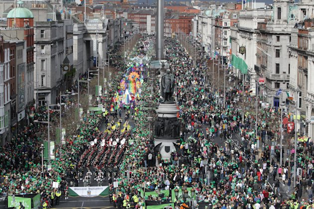 Thousands line the streets in Dublin last year on St Patrick's Day (PA)