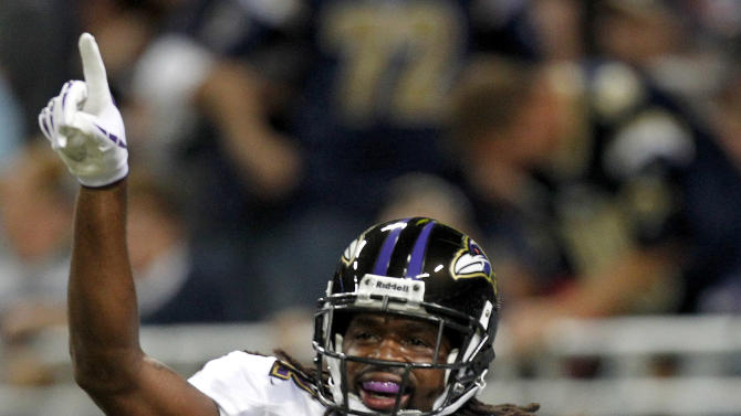 Baltimore Ravens wide receiver Torrey Smith celebrates after catching a 41-yard pass for a touchdown during the first quarter of an NFL football game against the St. Louis Rams, Sunday, Sept. 25, 2011, in St. Louis. (AP Photo/Jeff Roberson)