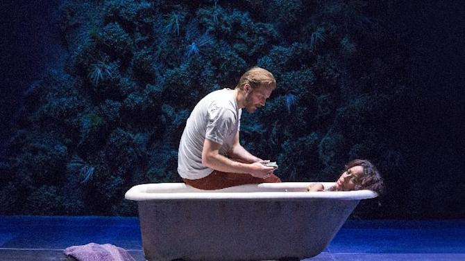 "This theater image released by The Hartman Groups shows Bill Heck, left, and Liza Colon-Zayas during a performance of ""Water By The Spoonful,"" a play by Quiara Alegria Hudes. (AP Photo/The Hartman Group, Richard Termine)"