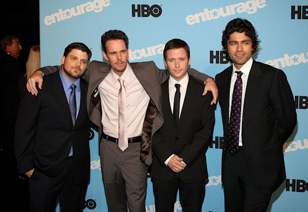 "Jerry Ferrara, Kevin Dillon, Kevin Connolly and Adrian Grenier attend the ""Entourage"" season 5 premiere at the Ziegfeld Theater on September 3, 2008 in New York City."