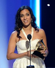 "Musician Anoushka Shankar accepts the Best World Music Album award for ""The Living Room Sessions Part 1"" on behalf of her father, the late Ravi Shankar, onstage at the Grammys on February 10, 2013 in Los Angeles. Indians were at the forefront of global protests on Thursday in the One Billion Rising campaign for women's rights, galvanised by the recent fatal gang rape that shocked the country"
