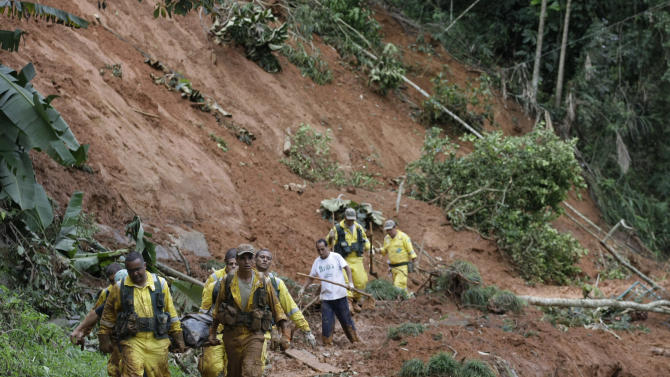 The body of Waldecir Motta de Lima, 48, a victim of a landslide, is carried on a stretcher after being recovered by rescue workers in Cascata de Imbui, Teresopolis, Rio de Janeiro state, Brazil, Saturday, Jan. 15, 2011. After four nights of torrential rains, mudslides have killed more than 500 people in the Rio de Janeiro area. (AP Photo/Silvia Izquierdo)