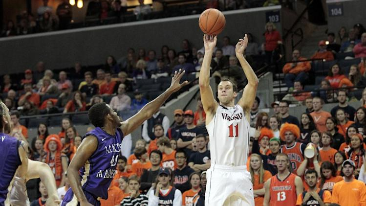 Gill and No. 24 Virginia beat James Madison 61-41