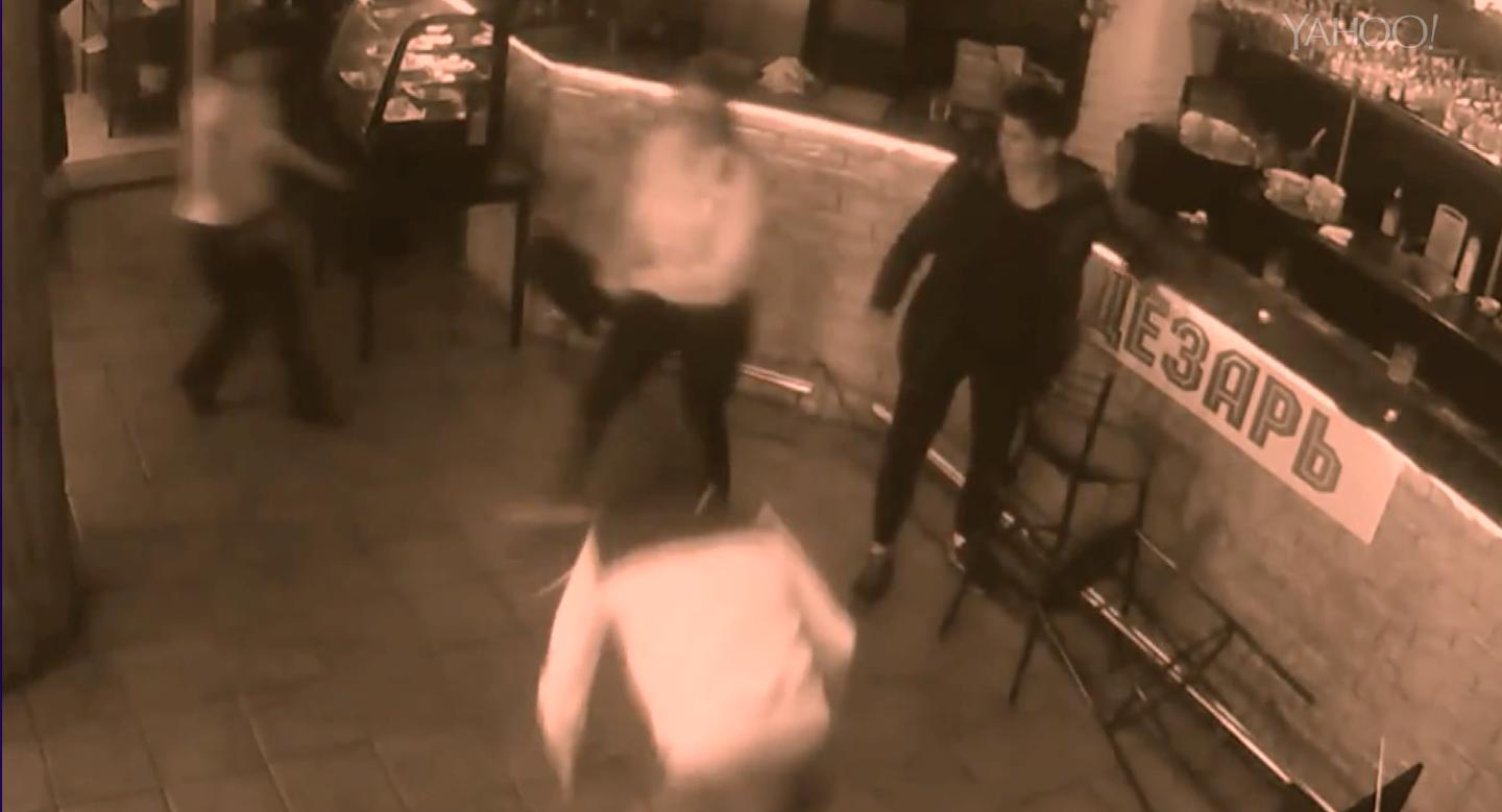 Caught on camera: Russian waitress fights off customer after he gropes her