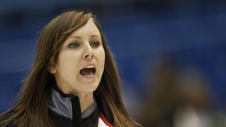 Canada's skip Rachel Homan yells instructions to her teammates during her draw against Switzerland at the World Women's Curling Championships in St.John