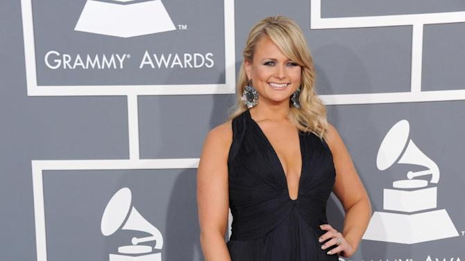 FILE - In this Sunday, Feb. 10, 2013 file photo, Miranda Lambert arrives at the 55th annual Grammy Awards, in Los Angeles. Lambert is a nominee with five nominations at the upcoming 48th annual Academy of Country Music Awards. The show will broadcast live on CBS from the MGM Grand Garden Arena in Las Vegas on Sunday, April, 8, 2013.   (Photo by Jordan Strauss/Invision/AP, File)
