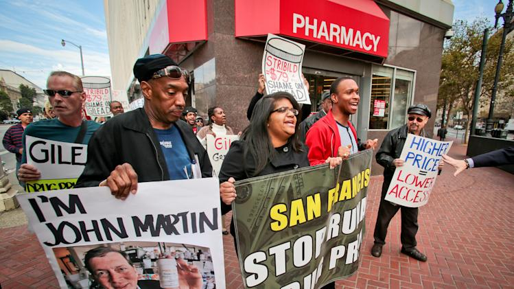 IMAGE DISTRIBUTED FOR AIDS HEALTHCARE FOUNDATION - Advocates from AIDS Healthcare Foundation and other groups march and protest the high price of drugs, particularly Gilead's AIDS drugs, after announcing the launch of a new ballot initiative in San Francisco to rein in drug prices on Thursday, Nov. 15, 2012. (John Storey/AP Images for AIDS Healthcare Foundation)