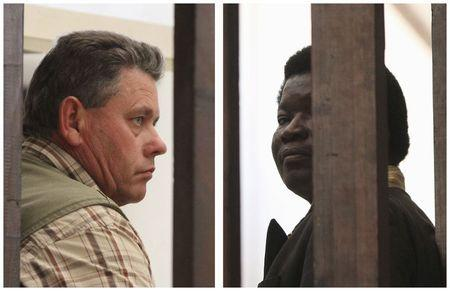 A combination photo shows Zimbabwean safari operator Ndlovu and fellow countryman and hunter Bronkhorst waiting to appear in Hwange magistrates court