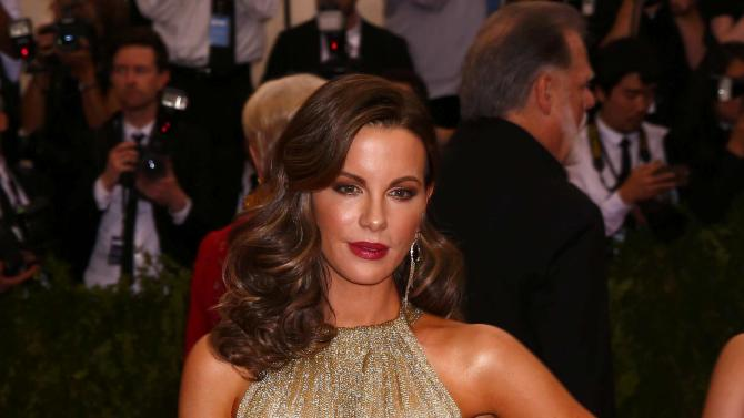 "Kate Beckinsale arrives at Metropolitan Museum of Art Costume Institute Gala 2015 celebrating the opening of ""China: Through the Looking Glass,"" in Manhattan"