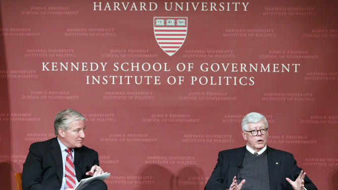 National Rifle Association President David Keene, right, answers an audience question as moderator, CNN chief national correspondent John King looks on at the John F. Kennedy Jr. forum at Harvard University in Cambridge, Mass., Wednesday, Feb. 20, 2013. (AP Photo/Michael Dwyer)