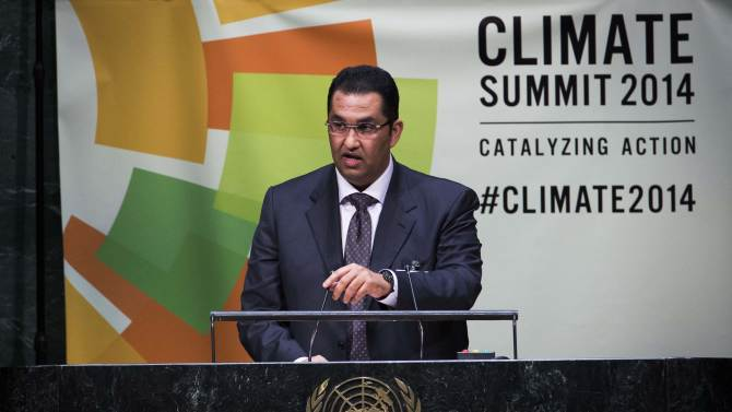 Sultan Ahmed Al Jaber, Chairman of Masdar, speaks during the Climate Summit at United Nations headquarters in New York