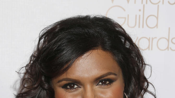 Mindy Kaling attends the 2013 Writers Guild Awards at the JW Marriott on Sunday, Feb. 17., 2013 in Los Angeles. (Photo by Todd Williamson/Invision/AP)
