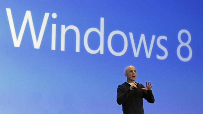 Steven Sinofsky, president of the Microsoft Windows group, delivers his presentation at the launch of Microsoft Windows 8, in New York,  Thursday, Oct. 25, 2012. Windows 8 is the most dramatic overhaul of the personal computer market's dominant operating system in 17 years. (AP Photo/Richard Drew)