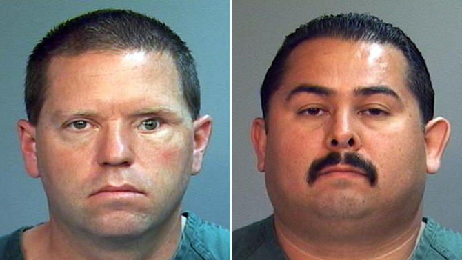 This combo made from file photos provided by the Orange County District Attorney's office shows Fullerton Police Officers Jay Cicinelli, left, and Manuel Ramos. A judge on Monday, May 7, 2012 will weigh whether there's enough evidence to try the two officers, who are charged with one count each of second-degree murder and involuntary manslaughter in the death of 37-year-old Kelly Thomas after a violent confrontation with officers on July 5. (AP Photo/Orange County District Attorney, File)
