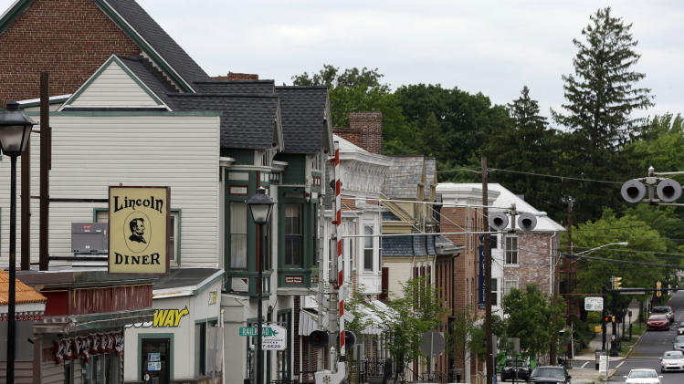 In this Friday, May 24, 2013 photo, shown is the town of Gettysburg, Pa. Tens of thousands of visitors are expected for the 10-day schedule of events that begin June 29 to mark 150th anniversary of the Battle of Gettysburg that took that took place July 1-3, 1863. (AP Photo/Matt Rourke)