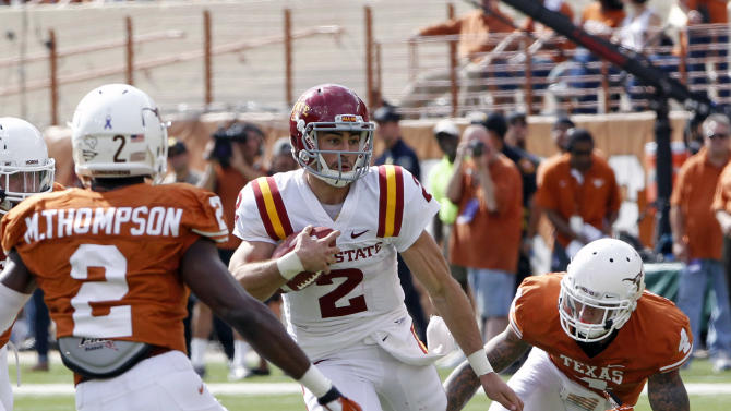Iowa State quarterback Steele Jantz runs the ball against Texas in the second quarter of an NCAA college football game at Darrell K. Royal Memorial Stadium, Saturday, Nov. 10, 2012, in Austin, Texas. (AP Photo/Michael Thomas)