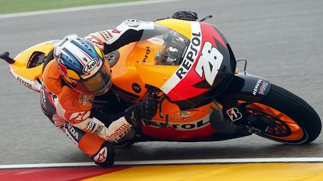 Dani Pedrosa in action at the Aragon Grand Prix