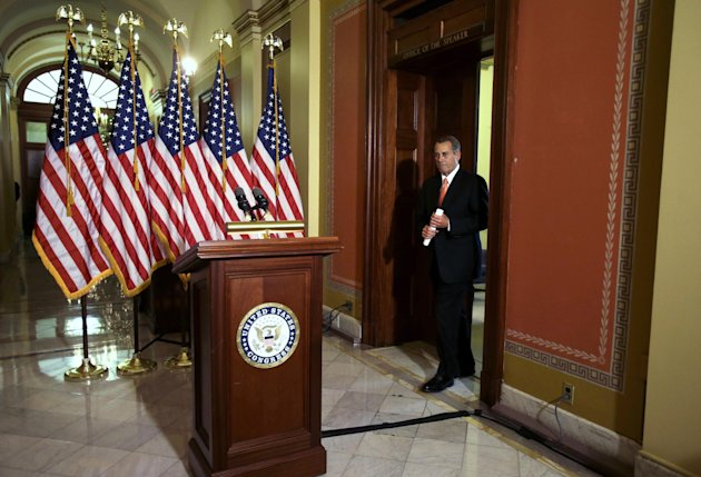 House Speaker John Boehner of Ohio arrives to speak on the fiscal cliff negotiations on Capitol Hill in Washington, Wednesday, Dec. 19, 2012. Boehner says President Barack Obama should support a Republican plan to avoid January tax increases on everyone but those earning over $1 million. Boehner says if Obama doesn&#39;t support the measure, the president will be responsible for what he calls &quot;the largest tax increase in history.&quot;(AP Photo/Jacquelyn Martin)