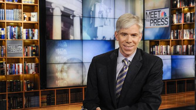"""This Feb. 24, 2013 photo released by NBC News shows moderator David Gregory on the set of """"Meet the Press,"""" in Washington. The 42-year-old Gregory was named """"Meet the Press"""" moderator in December 2008 after serving as Chief White House correspondent during the presidency of George W. Bush.  (AP Photo/NBC, William B.  Plowman)"""