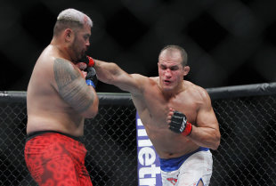 Junior dos Santos lands a punch against Mark Hunt. (USA Today)
