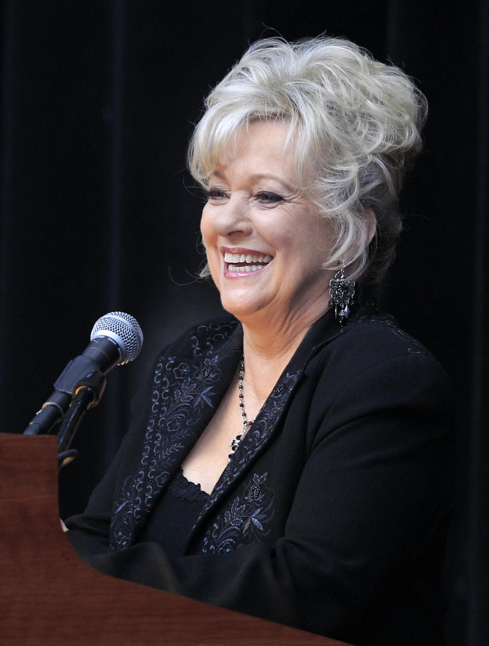 "Connie Smith talks about her career during the announcement on Tuesday, March 6, 2012, that she will be inducted into the Country Music Hall of Fame in Nashville, Tenn. Smith, Garth Brooks, and Hargus ""Pig"" Robbins will become the newest members. (AP Photo/Mark Humphrey)"