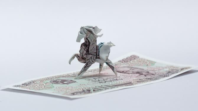Origami art - Horse. Yesterday I was asked to fold a horse from Vietnamese money. The paper was so small but I tried to archive as many detail as I could. Someday I will fold it again with larger paper.