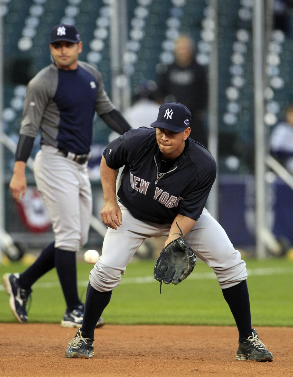New York Yankees' Alex Rodriguez takes fielding practice before Game 4 of the American League championship series against the Detroit Tigers Wednesday, Oct. 17, 2012, in Detroit. (AP Photo/Carlos Osorio)