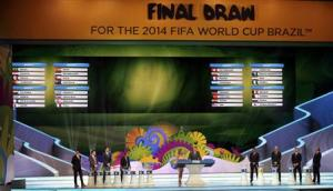 The groups for the 2014 World Cup finals are shown on the screen after the draw was made at the Costa do Sauipe resort in Sao Joao da Mata,
