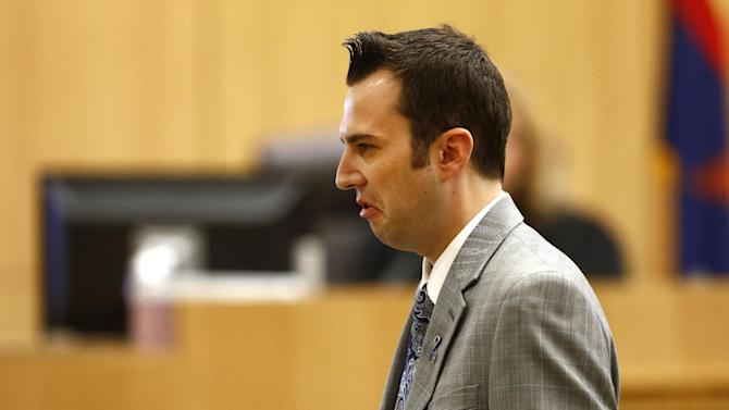 """Steven Alexander, brother of murder victim Travis Alexander, makes his """"victim impact statement"""" to the jury on Thursday, May 16, 2013, during the penalty phase of the Jodi Arias trial at Maricopa County Superior Court in Phoenix.  Jodi Arias was convicted of first-degree murder in the stabbing and shooting to death of Travis Alexander, 30, in his suburban Phoenix home in June 2008. (AP Photo/The Arizona Republic, Rob Schumacher, Pool)"""