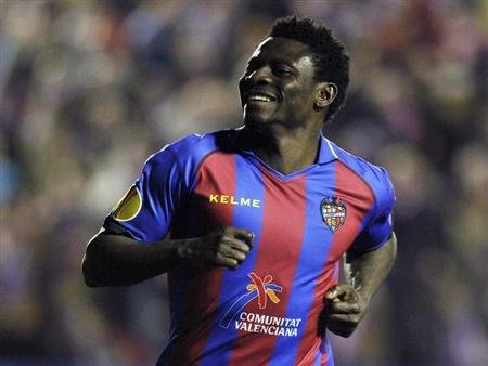 Levante's Martins celebrates after he scored against Olympiakos Piraeus during their Europa League soccer match at the Ciudad de Valencia stadium in Valencia