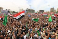 Thousands of Egypt&#39;s Muslim Brotherhood and Salafist movement supporters take part in a demonstration in the Cairo&#39;s Tahrir Square on April 13. Egypt&#39;s election commission said on Saturday that ex-spy chief Omar Suleiman, Muslim Brotherhood candidate Khairat al-Shater and Salafist politician Hazem Abu Ismail are among 10 candidates barred from running for president
