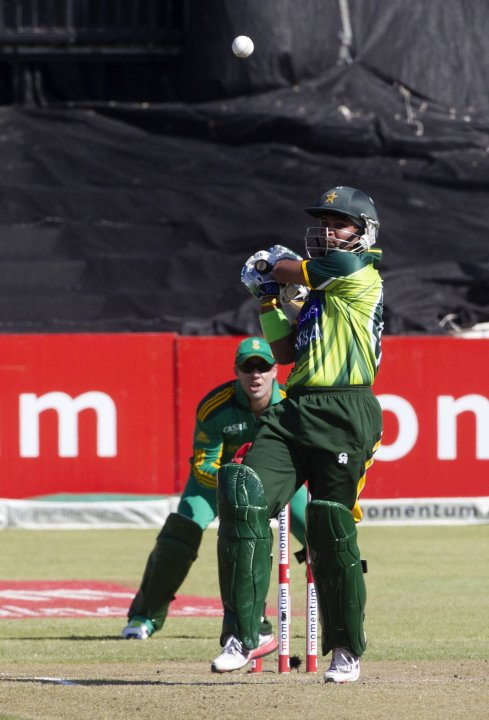 Pakistan's Imran Farhat plays a shot during their fourth One Day International cricket match against South Africa in Durban