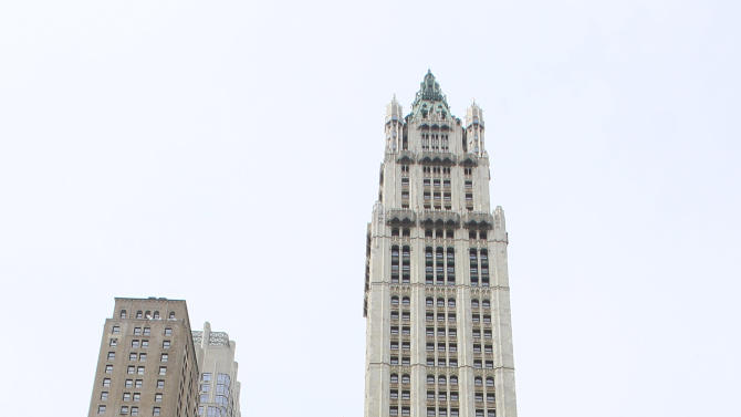 FILE - This May 3, 2011, file photo, shows the Woolworth building in New York. The Woolworth Building was New York's tallest from 1913-30, until the completion of the Bank of Manhattan Trust Building (now called the Trump Building). (AP Photo/Mary Altaffer, File)