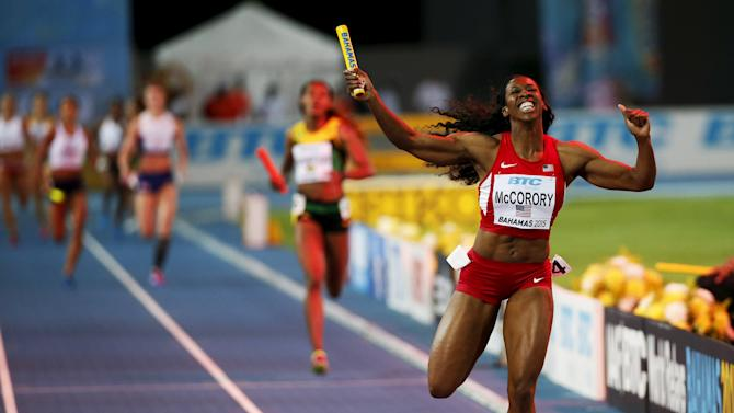 Francena McCorory of the U.S. crosses the finish line to win the women's 4x400 relay race at the IAAF World Relays Championships in Nassau