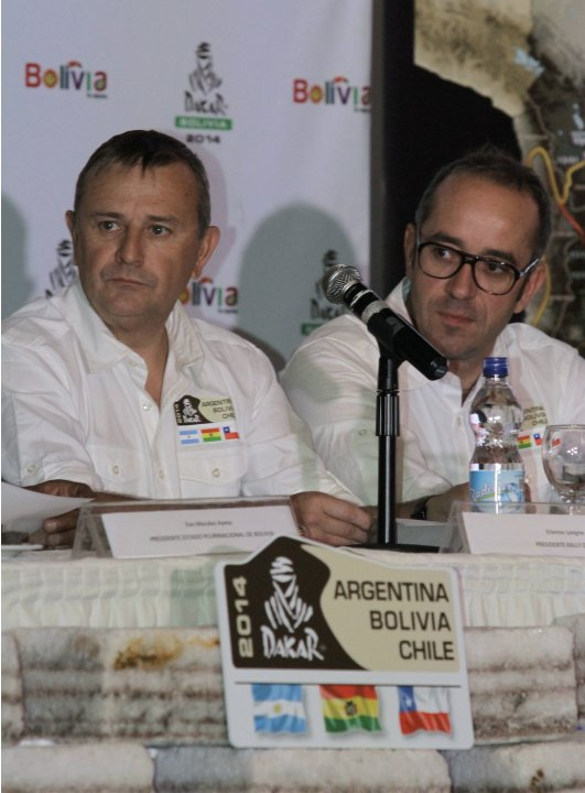 Dakar Rally Director Etienne Lavigne and Coordinator Gregory Murac attend a ceremony in La Paz