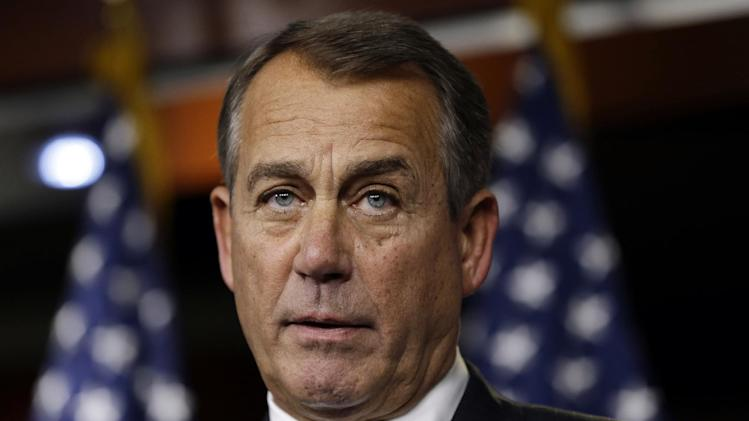 House Speaker Rep. John Boehner, R-Ohio, speaks to the media about the fiscal cliff at the U.S. Capitol in Washington, on Thursday, Dec. 20, 2012. (AP Photo/Jacquelyn Martin)