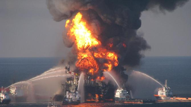 "FILE - In this April 21, 2010 file image provided by the U.S. Coast Guard, fire boat response crews battle the blazing remnants of the off shore oil rig Deepwater Horizon. British oil company BP said Thursday Nov. 15, 2012 it is in advanced talks with U.S. agencies about settling criminal and other claims from the Gulf of Mexico well blowout two years ago. In a statement, BP said ""no final agreement has yet been reached"" and that any such deal would still be subject to court approvals.  (AP Photo/US Coast Guard, File)"