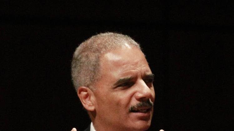 File photo of U.S. Attorney General Holder talking to an audience in Birmingham