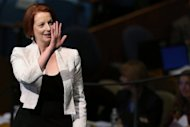 "Australian PM Julia Gillard at the United Nations General Assembly in September. Julian Assange says comments Gillard made in 2010 that the leaking of US diplomatic cables was ""illegal"" and ""grossly irresponsible"" had hurt WikiLeaks' financial viability"