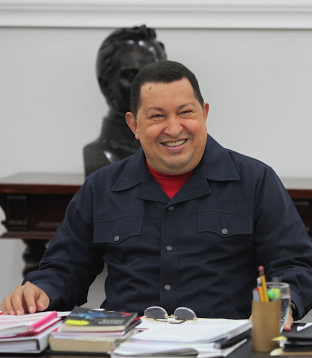 In this photo released by Miraflores Press Office, Venezuela's President Hugo Chavez smiles as he leads a televised Cabinet meeting at Miraflores presidential palace in Caracas, Venezuela, Tuesday, Ma