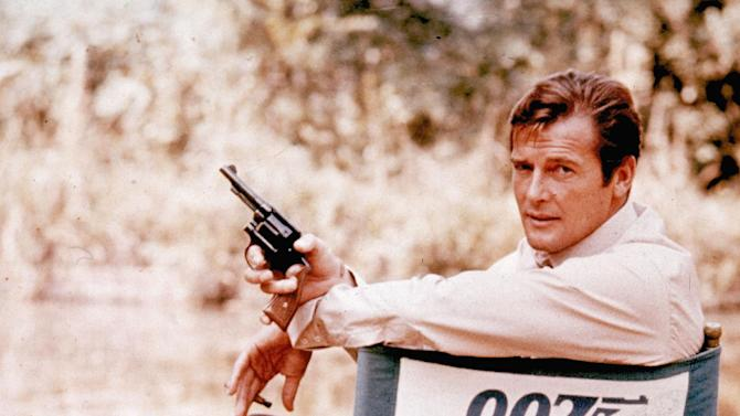 FILE - British actor Roger Moore, playing the title role of secret service agent 007, James Bond, is shown on location in England in 1972.  Moore, played Bond in seven films, more than any other actor. (AP Photo, File)