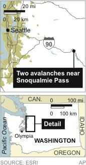 Map locates Snoqualmie Pass, near where two avalances have left people missing