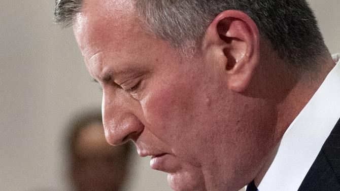 New York Mayor Bill de Blasio speaks at  news conference at Woodhull Hospital about the two New York Police officers that were shot dead in the Brooklyn borough of New York