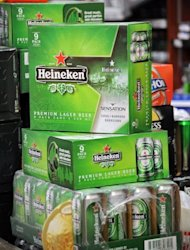 <p>Soxes of Dutch beer Heineken are pictured at a convenience store in Singapore. Shareholders in the parent company of the Singapore-based brewer that makes Tiger Beer approved its takeover by Heineken on Friday, increasing the Dutch giant's footprint in the growing Asian market.</p>