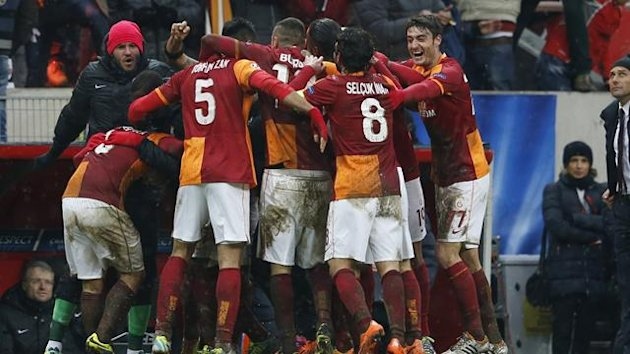 Team players of Galatasaray selebrate their goal against Juventus during their Champions League soccer match in Istanbul December 11, 2013. (Reuters)