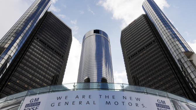General Motors headquarters are shown in Detroit, Thursday, Nov. 18, 2010. GM is returning to life as a public company Thursday with a initial public offering of stock.  (AP Photo/Paul Sancya)