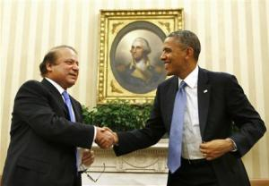 U.S. President Obama shakes hands with Pakistan's PM Sharif at the White House in Washington